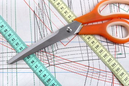 needlewoman: Sewing tools on template plan for tailor