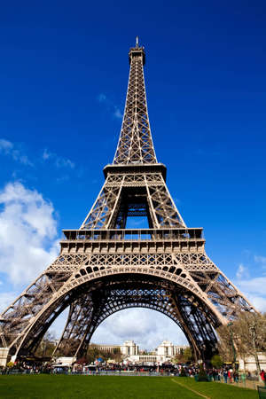 Classical beautiful view of The Eiffel Tower in Paris on a sunny day Stock Photo