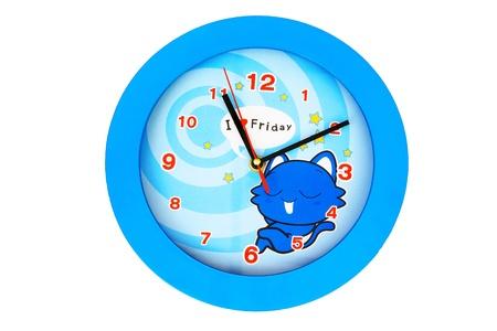 Blue Clock Fashioned cartoon Stock Photo
