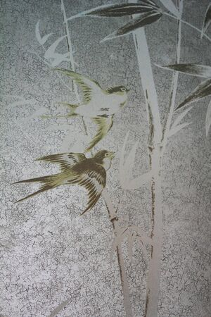 Classical wall-paper with a bird 1 Stock Photo