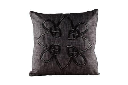 The gray rectangular pillow