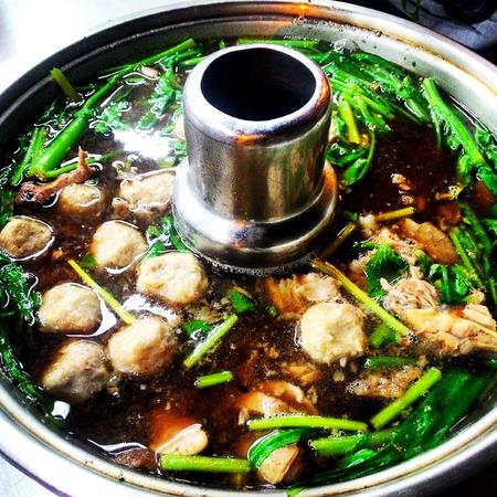 Beef hotpot , Street food Thailand style.