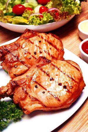 steak BBQ and salad
