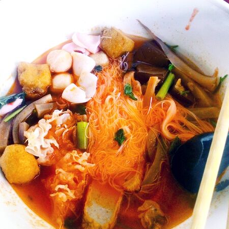 Yentafo Noodle in Red Tofu Soup Stock Photo