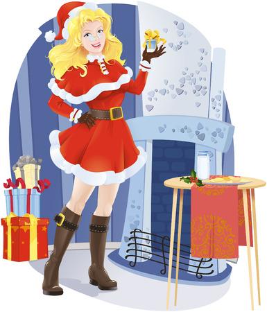 Beautiful Santa girl with christmas present Stock Vector - 5808045