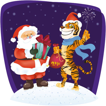 vector illustration of Santa and Tiger. Stock Vector - 5808047