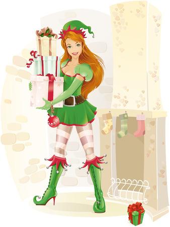 elf christmas: Cute elfo femenina con regalos de Navidad  Vectores