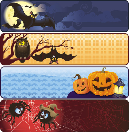 Set of Halloween banners in vector