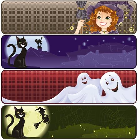 Funny Halloween banners Illustration