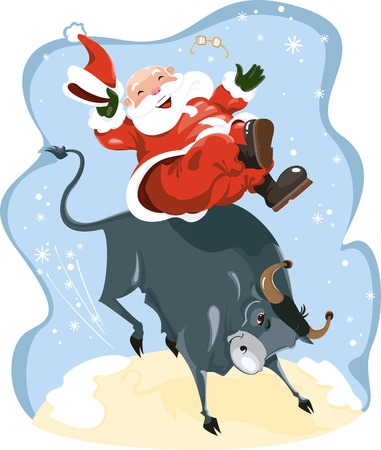 Funny cartoon displayed Santa on rodeo Vector