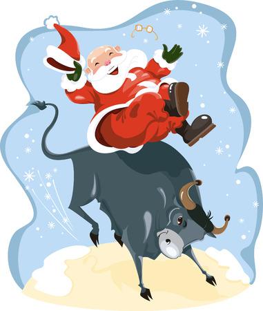 Funny cartoon displayed Santa on rodeo