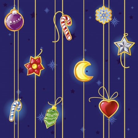 Vector seamless pattern with Christmas decorations Çizim