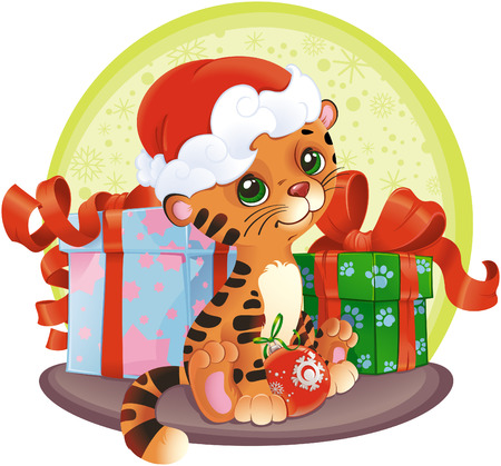 postcard box: adorable Tiger-cub with Christmas gifts. Illustration