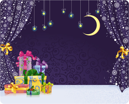Christmas background with gifts on stylized stage. With space for your text.