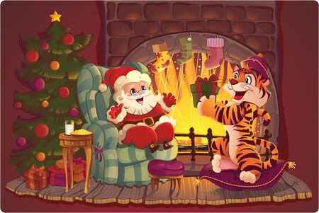 christmas room: Santa and Tiger. Greeting card with symbols of Christmas and New Year Illustration