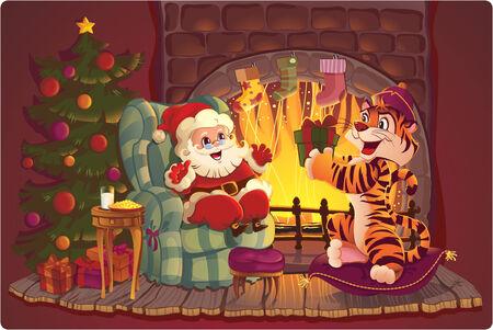 holiday cookies: Santa y el tigre. Tarjeta de felicitaci�n con s�mbolos de Navidad y a�o nuevo