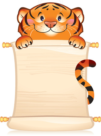 Tiger with scroll