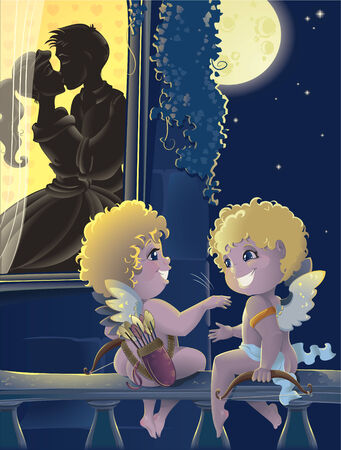 St.Valentine day. Cartoon with Cupids