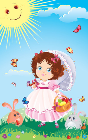 Easter greeting card with cute little girl on a walk. Illustration