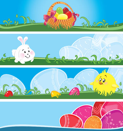 Set of Easter banners with copyspace Illustration