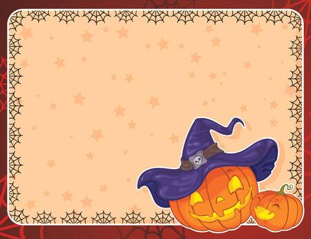 Halloween card with pumpkins Vector