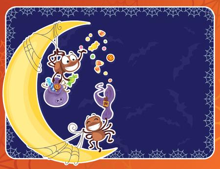 rowdy: Tarjeta de Halloween con ara�as alborotadas  Vectores
