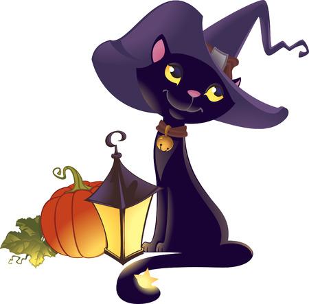 wizard hat: Halloween gatito con calabaza  Vectores