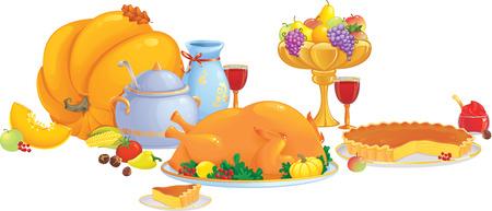 pie de limon: Ilustraci�n de cena de acci�n de gracias