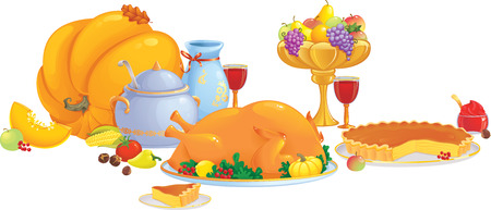 Thanksgiving dinner illustration  Stock Vector - 8060504