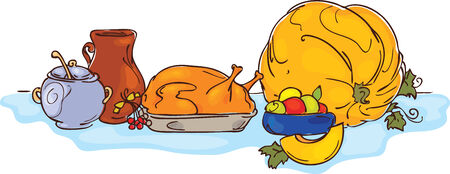 thanksgiving dinner: Thanksgiving dinner Illustration