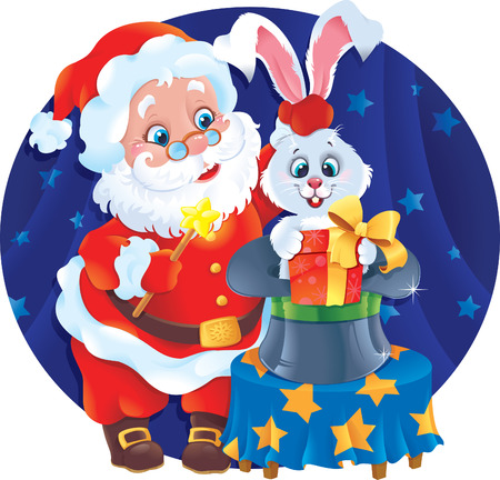 Santa and Rabbit. Greeting card with symbols of Christmas and New Year Vector