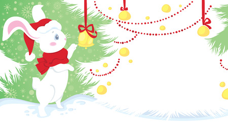 Cute white rabbit - symbol of Chinese horoscope for New Year. Greeting card with space for your text