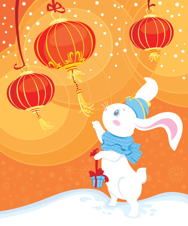 lapin blanc: lapin blanc et lanternes chinoises  Illustration