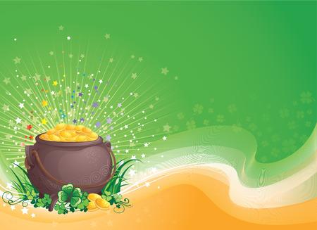 four fourleaf: Illustrazione vettoriale di sfondo St Patrick con copyspace.   Vettoriali
