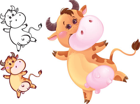Funny jumping cow may be used as your corporate character Stock Vector - 8790569