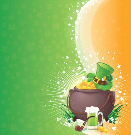 Saint Patricks Day background with symbols of Ireland Vector