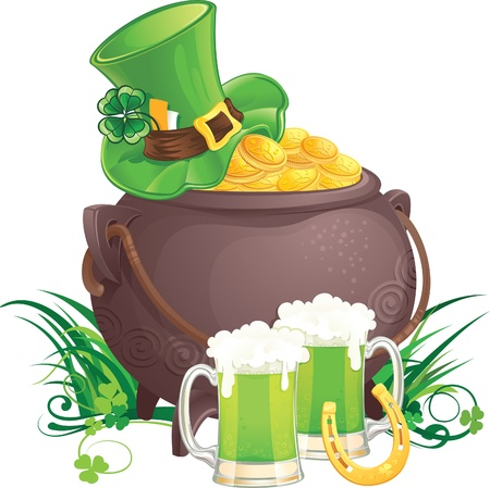 lucky clover: The mythical pot of gold,  leprechaun hat and green beer for Saint Patrick Day.