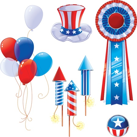 president of the usa: Fourth of July symbols Illustration