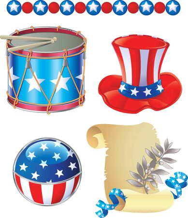 stovepipe hat: Independence Day symbols Illustration
