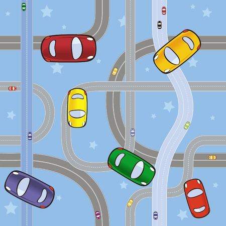 seamless pattern with cars on roads
