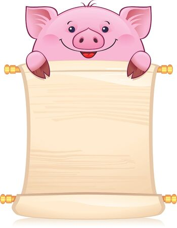 Piglet with scroll. Symbol of Chinese horoscope