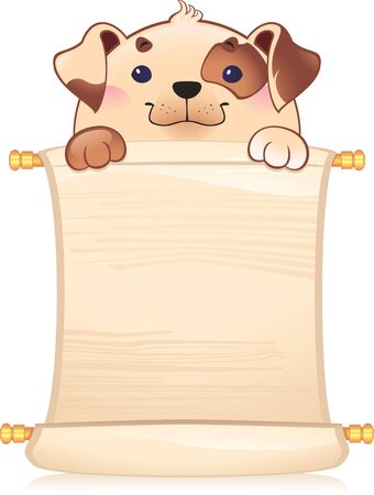 chinese scroll: Dog with scroll