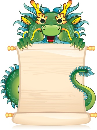 feng shui: Dragon with scroll - symbol of Chinese horoscope