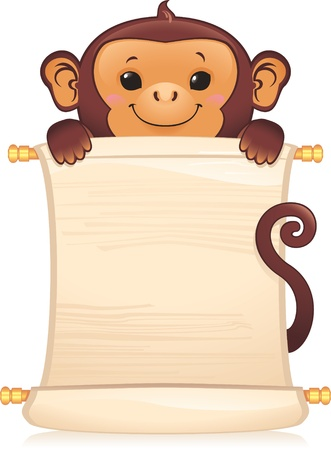 Symbol of Chinese horoscope - monkey with scroll  Vector