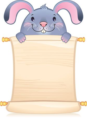 feng shui: Rabbit with scroll - symbol of Chinese horoscope  Illustration