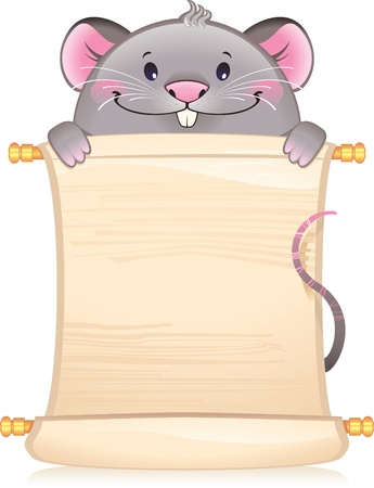 feng shui: Rat with scroll - symbol of Chinese horoscope