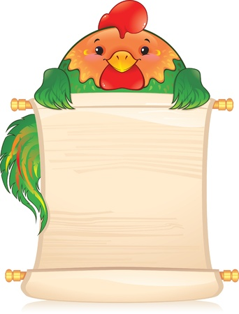 year of rooster: Gallo con desplazamiento. S�mbolo del hor�scopo chino  Vectores