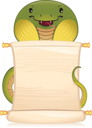 Snake with scroll - symbol of Chinese horoscope  Vector