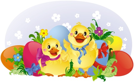 Easter greeting card with ducklings and eggs Stock Vector - 8912602