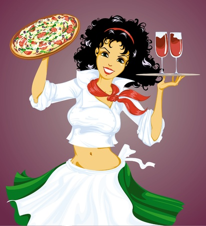 pizza chef: Italian girl with pizza and wine  Illustration